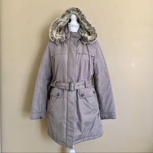 •LOFT• Tan Faux Fur Hooded Warm Coat